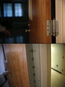 Top: A door hinge at the Terrell State Hospital, which poses a ligature risk. Bottom: Updated door hinges at the hospital are designed to not pose a ligature risk.