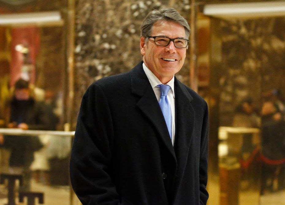 Energy Secretary-designate Rick Perry, visiting Trump Tower last month, is the right man for the job, T. Boone Pickens says. (File/The Associated Press)