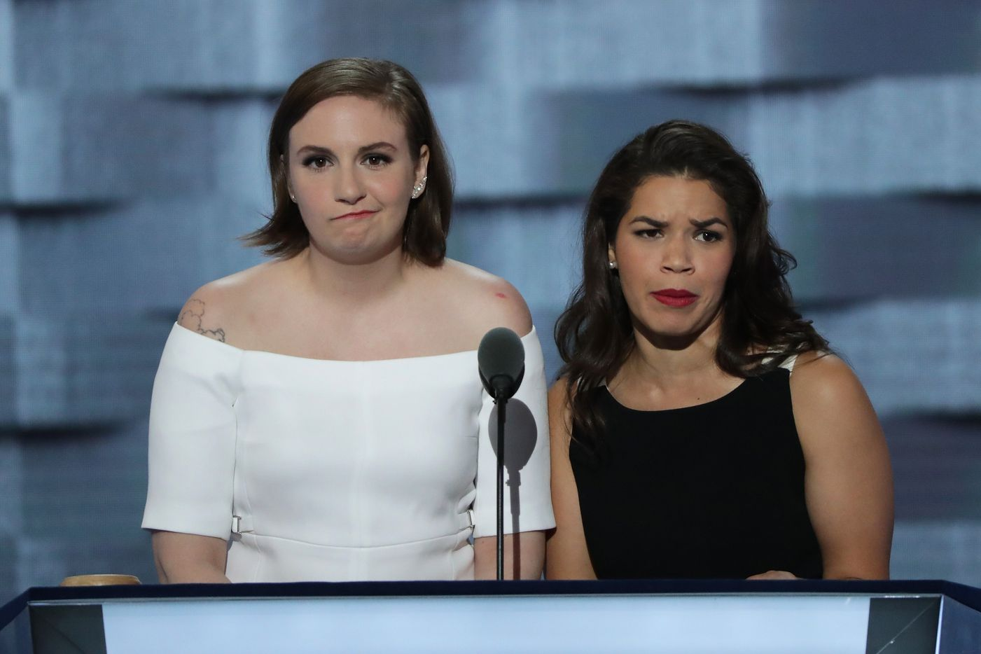 Actresses America Fererra (R) and Lena Dunham (L) deliver remarks on the second day of the Democratic National Convention.
