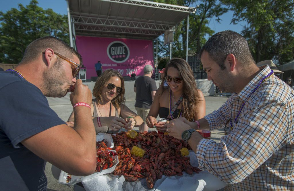From left, Keith, Crystal, April and Jason Sawyer enjoy the crawfish Sunday. (Robert W. Hart/Special Contributor)