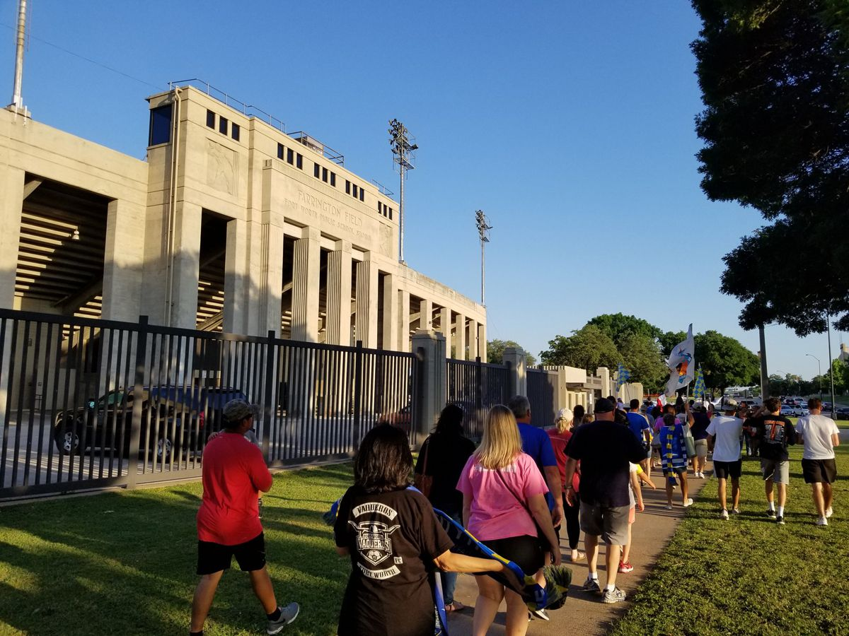 Fort Worth Vaqueros fans file into Farrington Field on Saturday for the club's 2018 home opener against Tyler FC. (5-12-19)