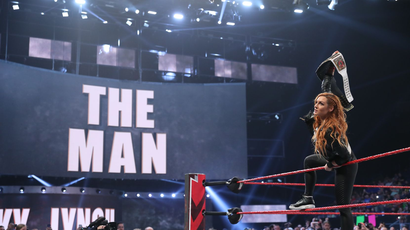 Raw women's champion Becky Lynch makes her entrance during an episode of WWE's Monday Night Raw.