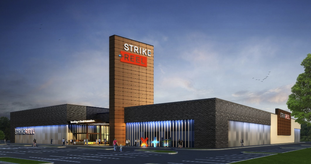 A rendering of the new Strike and Reel bowling alley and movie theater coming to Garland. It's expected to open in late-2019.