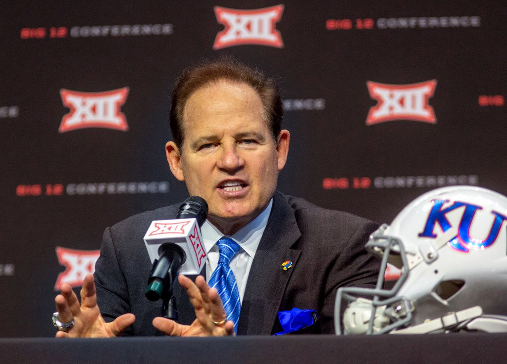 University of Kansas head football coach Les Miles speaks during the Big 12 Conference Media Days event at the AT&T Stadium in Arlington, Texas, Monday, July 15, 2019. (Lynda M. Gonzalez/The Dallas Morning News)