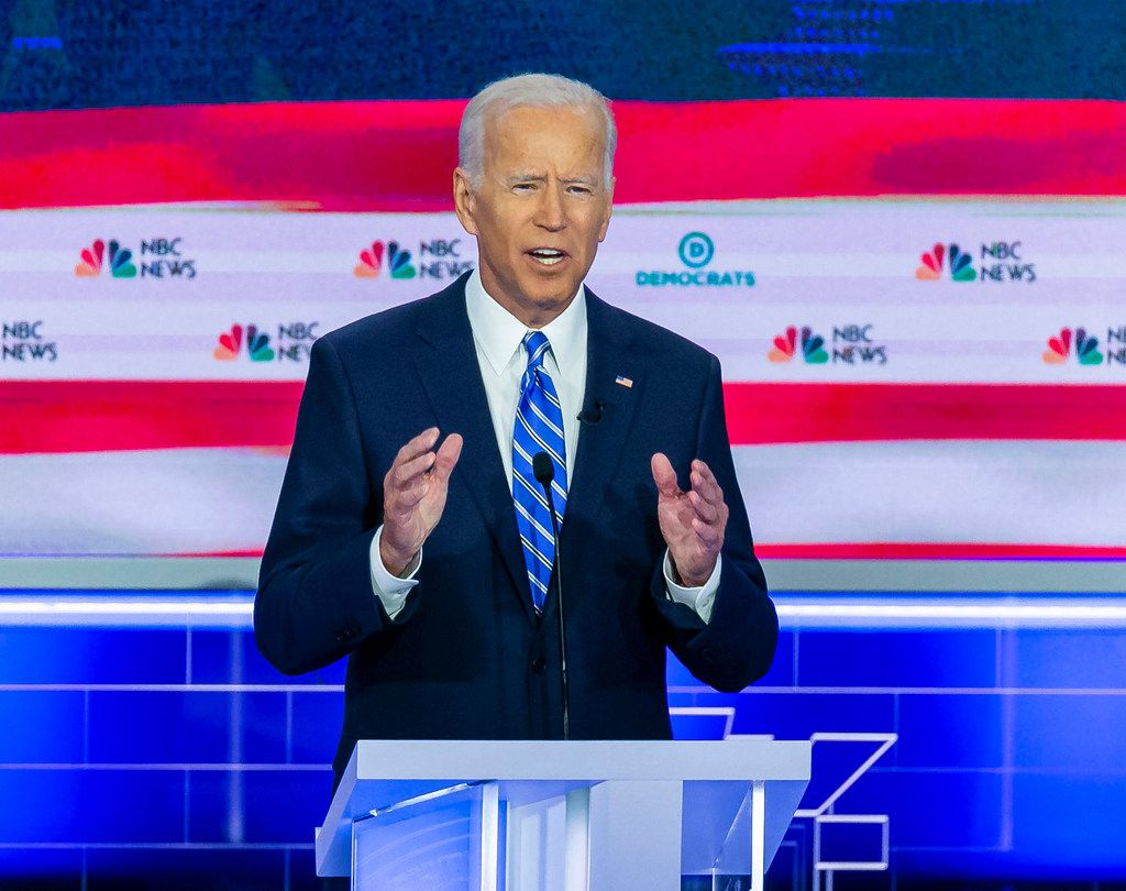 Former Vice President Joe Biden speaks during the second night of the first Democratic presidential debate on June 27, 2019, at the Arsht Center for the Performing Arts in Miami.