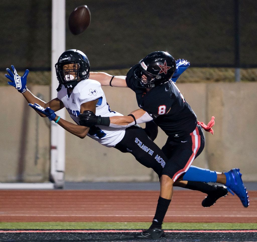 Hebron wide receiver Jaddai Henry (81) canÕt make the catch on a pass in the end zone as Coppell defensive back Canon Peters (8) is called for pass interference during the first half of a high school football game on Friday, Oct. 4, 2019, in Coppell, Texas. Hebron capitalized on the penalty with a touchdown on the drive. (Smiley N. Pool/The Dallas Morning News)