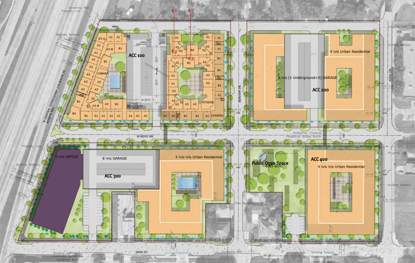 Allen City Center would be built at U.S. Highway 75 and Main Street.