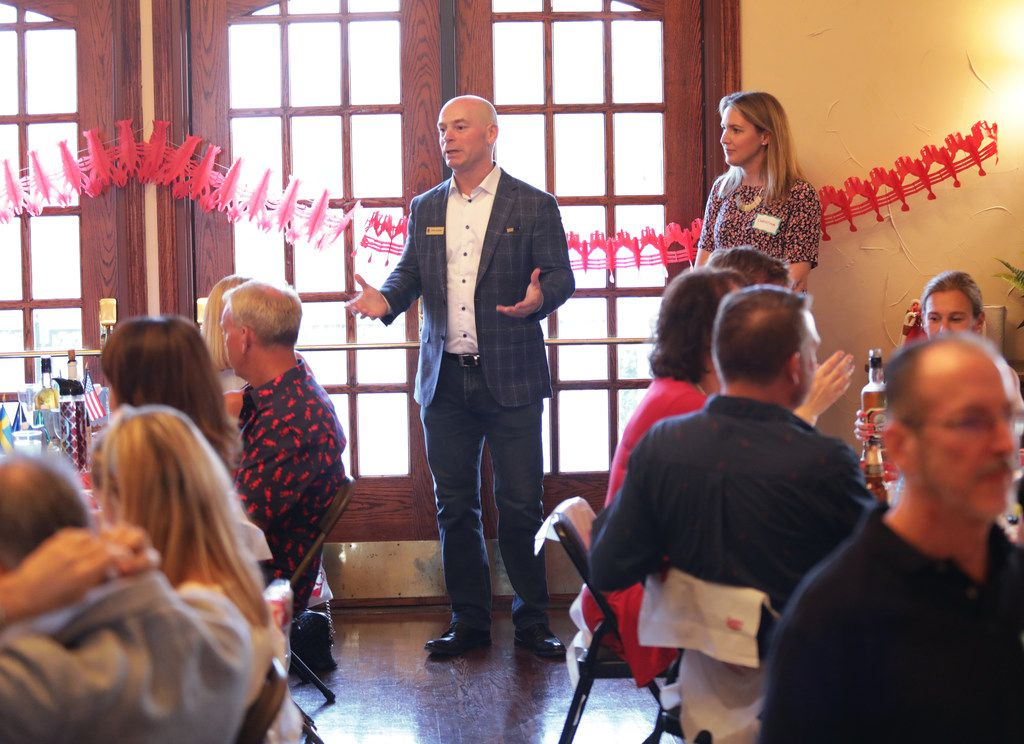 Patrik Melander speaks during the Swedish American Chamber of Commerce Swedish lobster feast at the Heritage Lakes Club House in Frisco on Sept. 7, 2019.