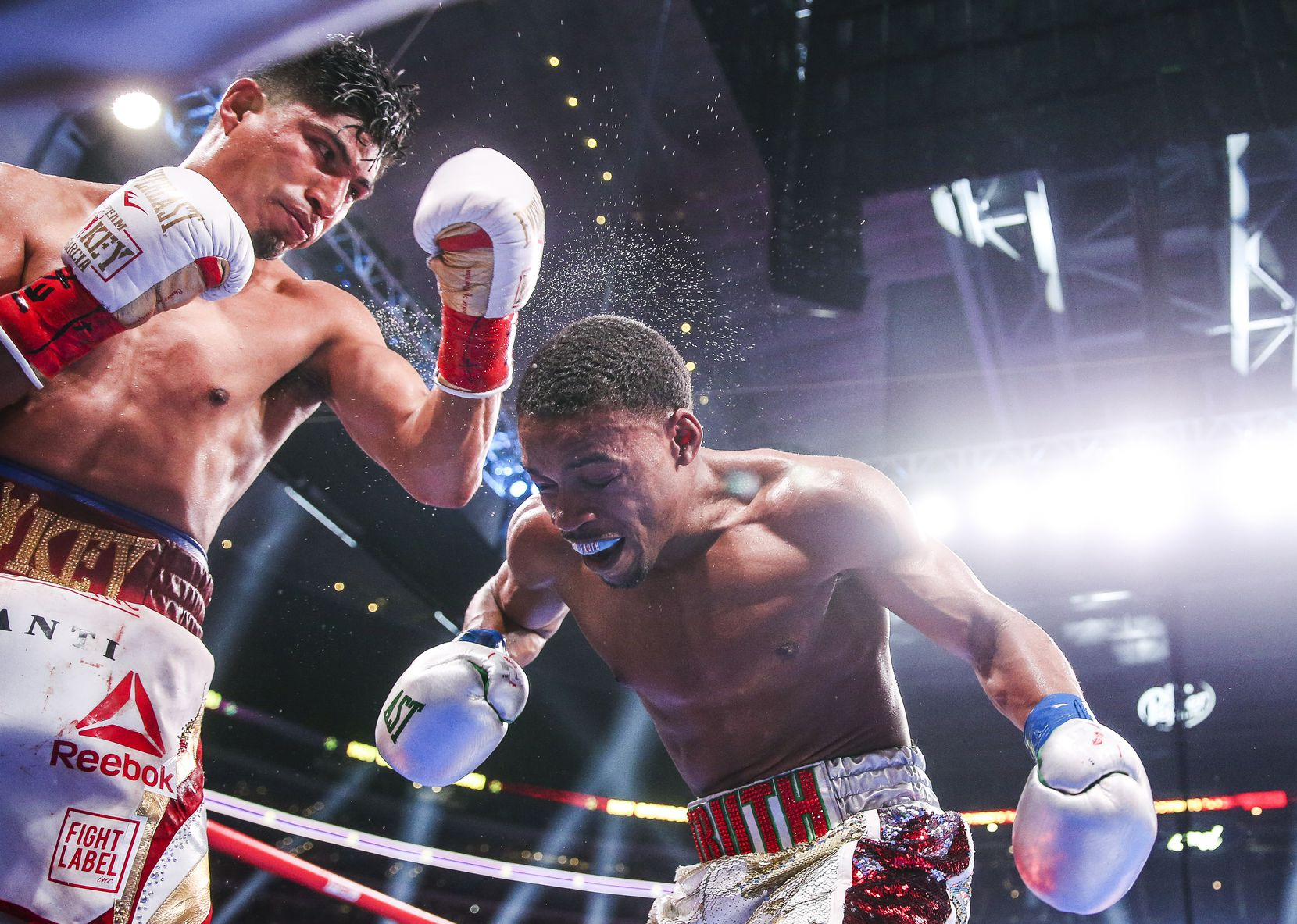 Mikey Garcia lands a shot on Errol Spence Jr. during a IBF World Welterweight Championship match on March 16, 2019, at AT&T Stadium in Arlington. Spence beat Garcia by decision.