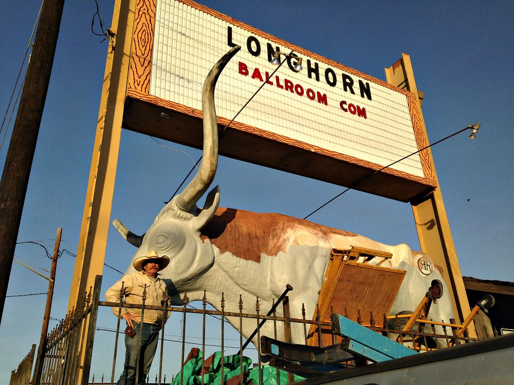 Stylle Reed, the Fort Worth muralist, was out painting the longhorn at the Longhorn Ballroom Wednesday.