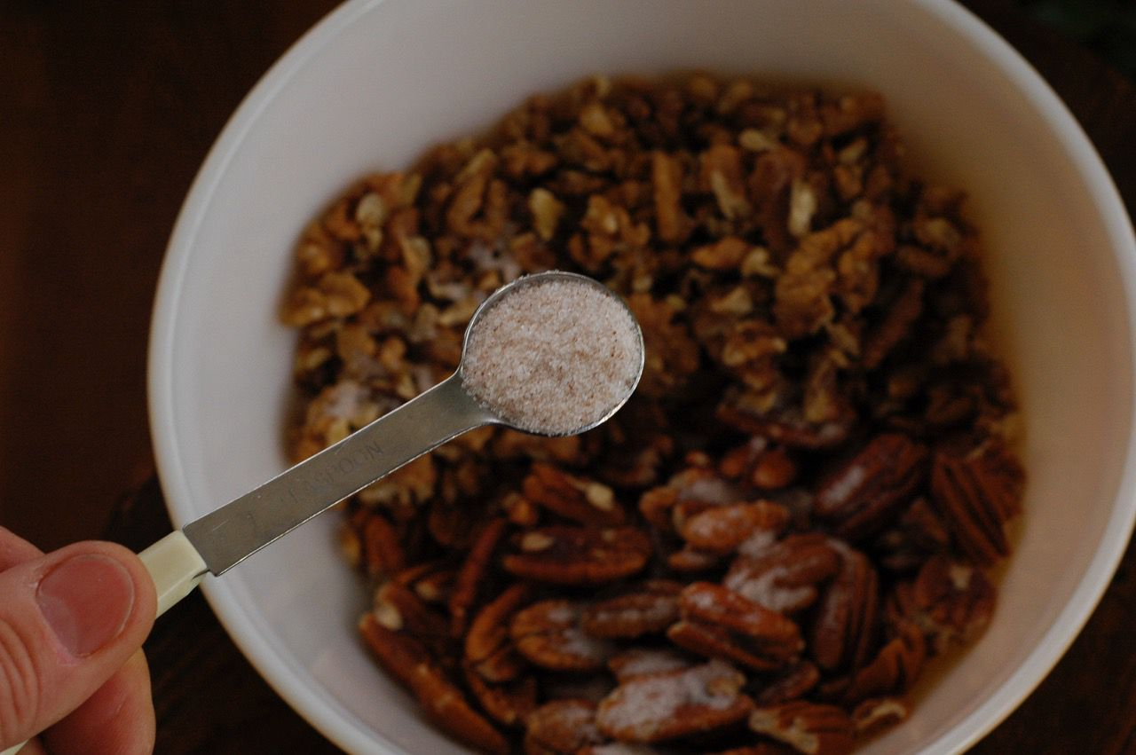 Roast pecans in an oven low and slow.