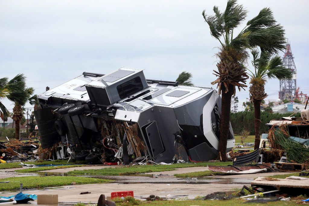 Mobile homes are destroyed at an RV park after Hurricane Harvey landed in the Coast Bend area on Saturday, Aug. 26, 2017, in Port Aransas, Texas. The National Hurricane Center has downgraded Harvey from a Category 1 hurricane to a tropical storm. Harvey came ashore Friday along the Texas Gulf Coast as a Category 4 storm with 130 mph winds, the most powerful hurricane to hit the U.S. in more than a decade.