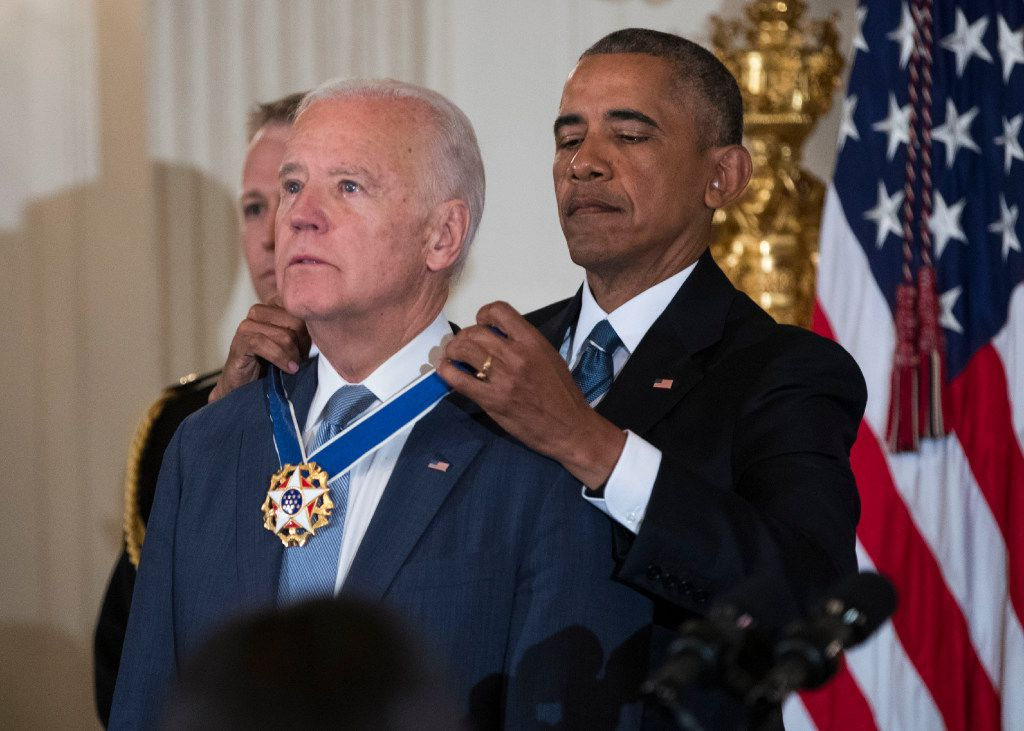 An emotional Vice President Joe Biden was awarded the Presidential Medal of Freedom by President Barack Obama at the White House shortly before leaving office. Believing he and his wife were coming for a private farewell, Biden was instead brought by the president into a State Dining Room filled with his friends, family and colleagues to present him with the honor. (Doug Mills/The New York Times)