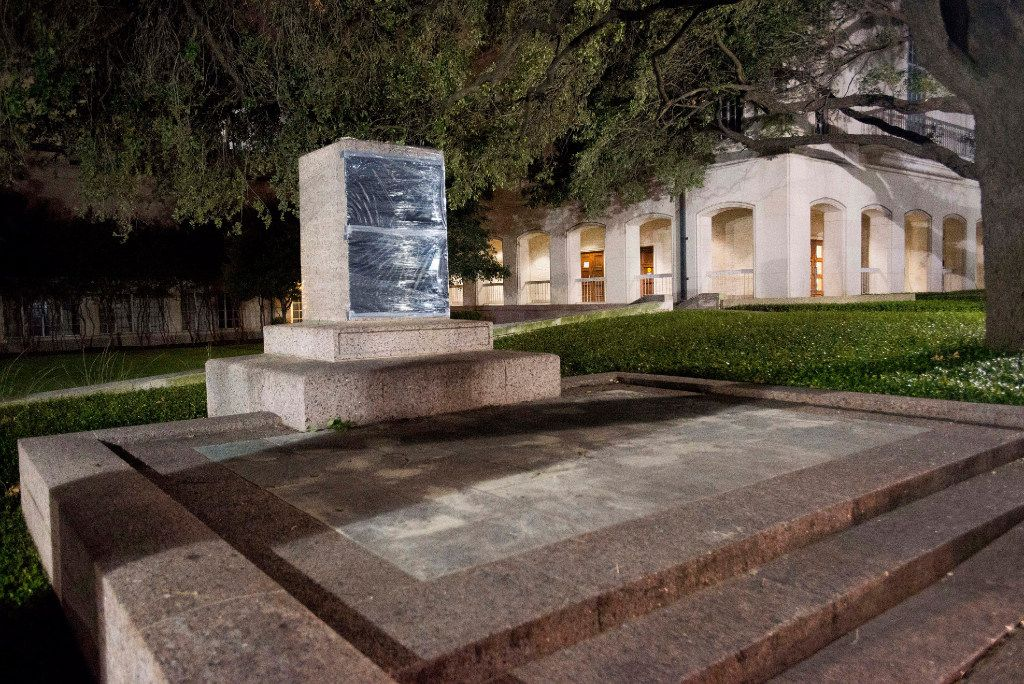 The statues depicting Robert  E. Lee, Albert Sidney Johnston, John Reagan and James Stephen Hogg were removed from the Main Mall at The University of Texas at Austin on Sun. and Mon. (Aug. 20-21, 2017). The Lee, Johnston and Reagan statues will be added to the collection of the Briscoe Center for scholarly study. The statues of James Hogg, governor of Texas (1892-1895) will be considered for re-installation at another campus site. Shown here is the Robert E. Lee statue pedestal after the statue was removed.(University of Texas at Austin)