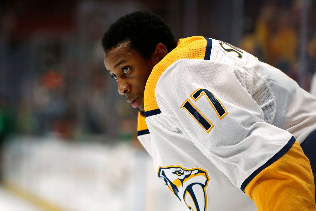 ANAHEIM, CALIFORNIA - MARCH 12:   Wayne Simmonds #17 of the Nashville Predators looks on during the pre-skate ahead of a game against the Anaheim Ducks at Honda Center on March 12, 2019 in Anaheim, California. (Photo by Katharine Lotze/Getty Images)