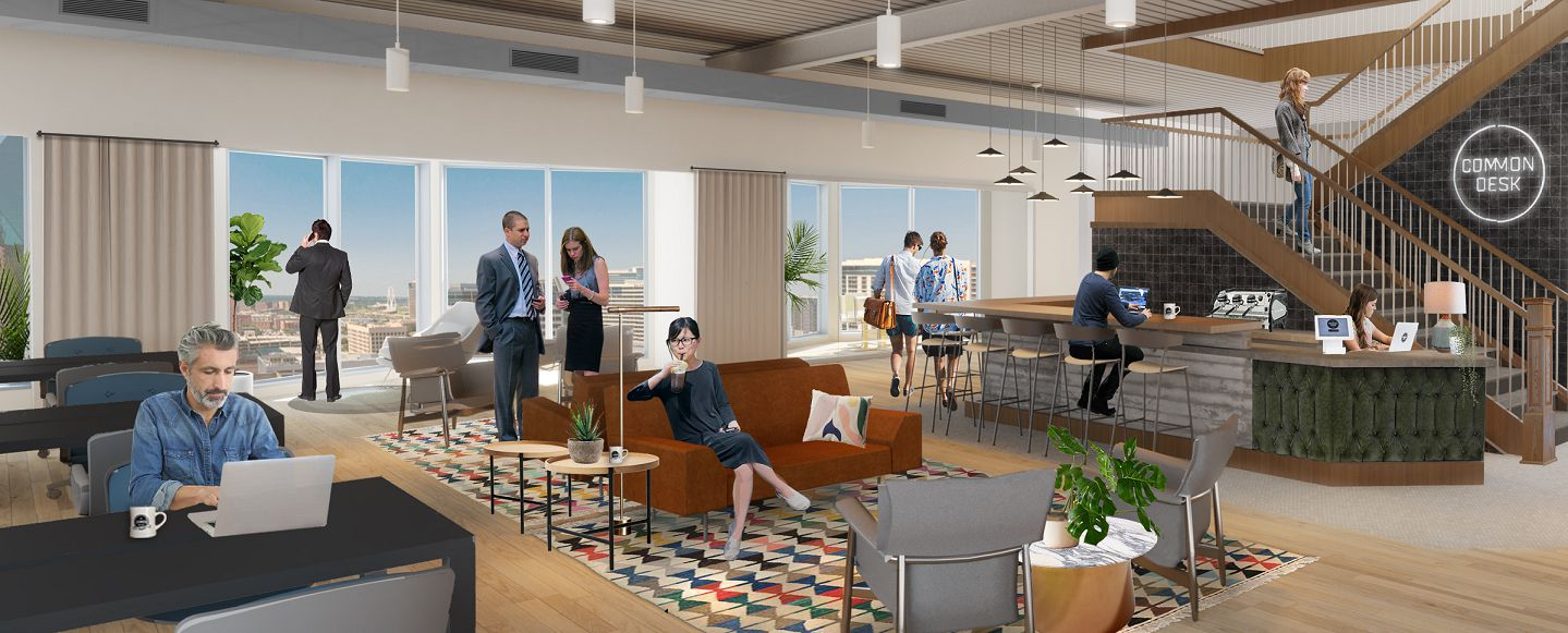 Common Desk's new shared office center is on two floors of the Trammell Crow Center.