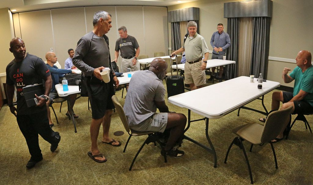 The SEC officiating crew meets game day morning in a College Station motel to go over final details before the  Louisiana Lafayette Ragin' Cajuns vs. the Texas A&M Aggies at Kyle Field in College Stadium, Texas on Saturday, September 15, 2017. (Louis DeLuca/The Dallas Morning News)
