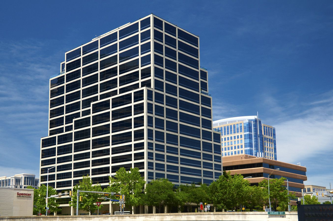 The Advancial Tower on Woodall Rodgers Freeway was built in 1984.