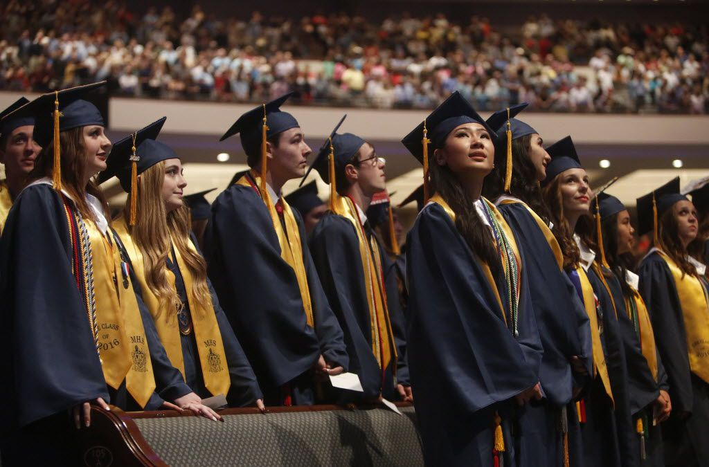 Members of the class of 2016 participated in the McKinney High School graduation ceremony at Prestonwood Baptist Church in Plano on June 3, 2016.