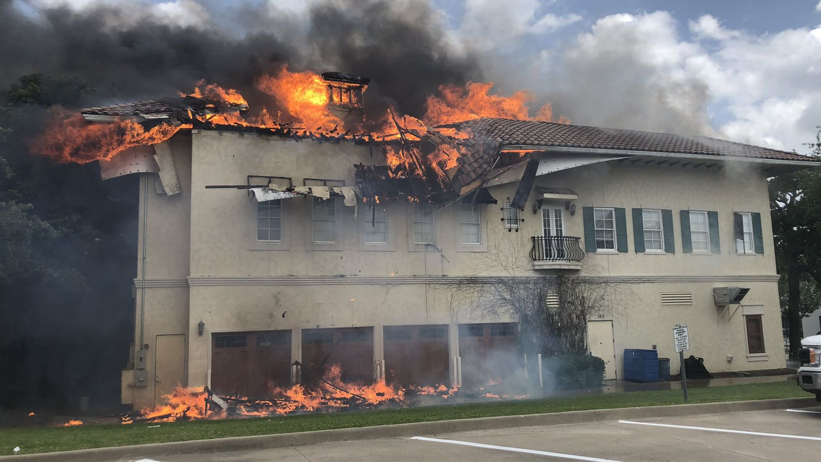 The roof of the building, located at 35 Village Lane, caught fire around 12:37 p.m., Colleyville community relations specialist Erin Spicer said.