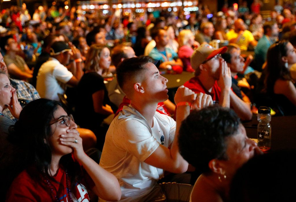 Croatian soccer fans watch as their team narrowly misses a goal against France during a World Cup watching party at The Bomb Factory in Dallas, Sunday, July 15, 2018. France defeated Croatia, 2-1, in the championship game. (Tom Fox/The Dallas Morning News)