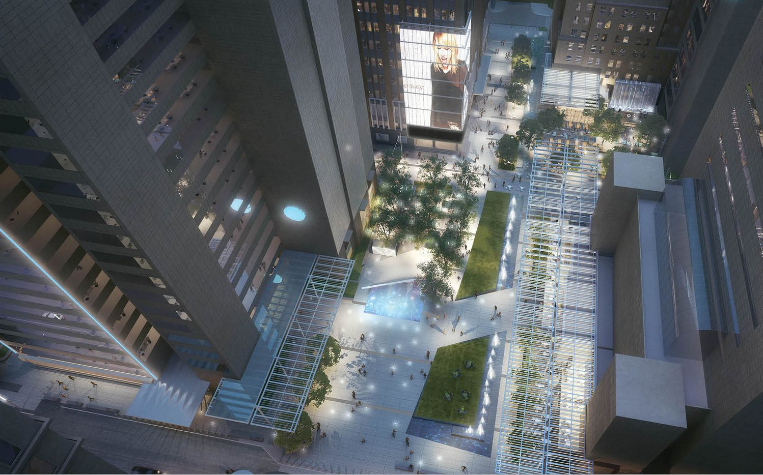 AT&T's new downtown Discovery District will open in late 2019 at Commerce and Akard streets.