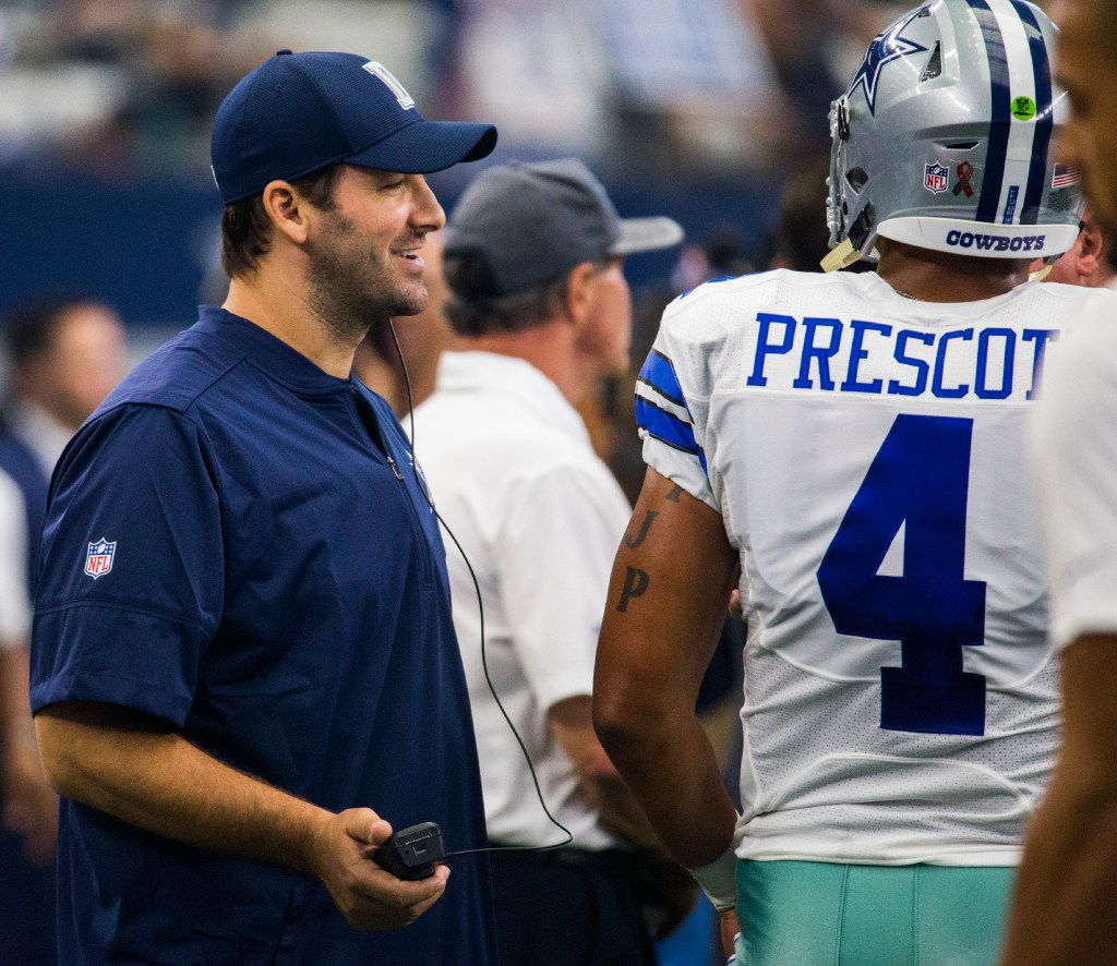 FILE - Cowboys quarterback Tony Romo (9) talks to quarterback Dak Prescott (4) on the sideline during the second quarter of their game against the New York Giants on Sunday, September 11, 2016 at AT&T Stadium in Arlington, Texas. (Ashley Landis/The Dallas Morning News)