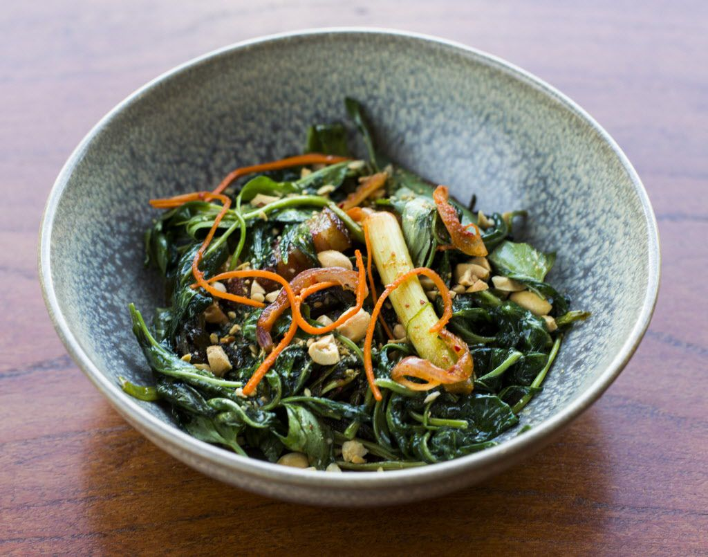 Fermented collard greens and Chinese water spinach with bacon and peanuts