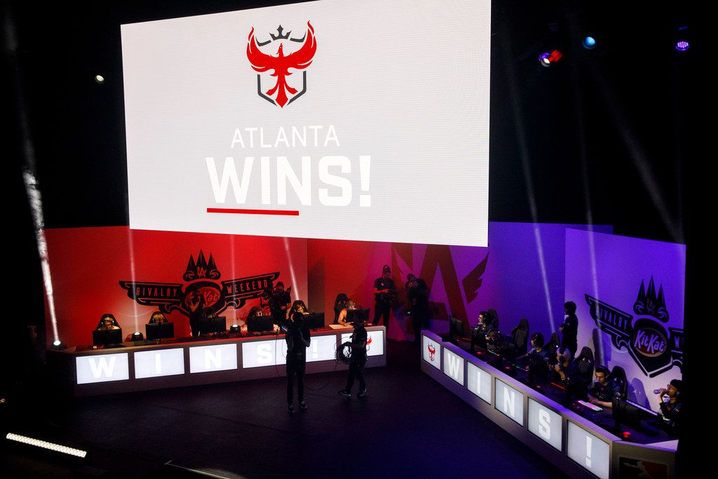 Atlanta wins during the Overwatch League match between the Dallas Fuel and Atlanta Reign on Saturday, August 24, 2019 at The Novo in Los Angeles, CA. The Fuel lost to Atlanta 3-1. (Photo by Patrick T. Fallon/Special Contributor to The Dallas Morning News)