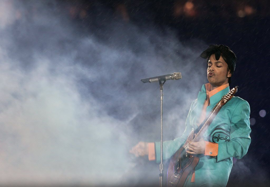This file photo taken on February 4, 2007 shows US musician Prince performing during half-time at Super Bowl XLI at Dolphin Stadium in Miami between the Chicago Bears and the Indianapolis Colts.