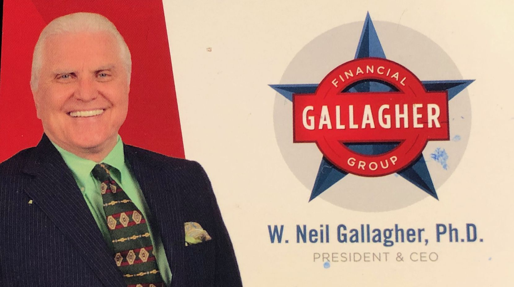 Gallagher's business card. His Gallagher Financial Group has been shut down by authorities. Its assets are under the control of a court-appointed receiver.
