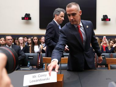 Corey Lewandowski, former campaign manager for President Donald Trump, arrives to testify to the House Judiciary Committee on Sept. 17, 2019, in Washington. (AP Photo/Jacquelyn Martin)
