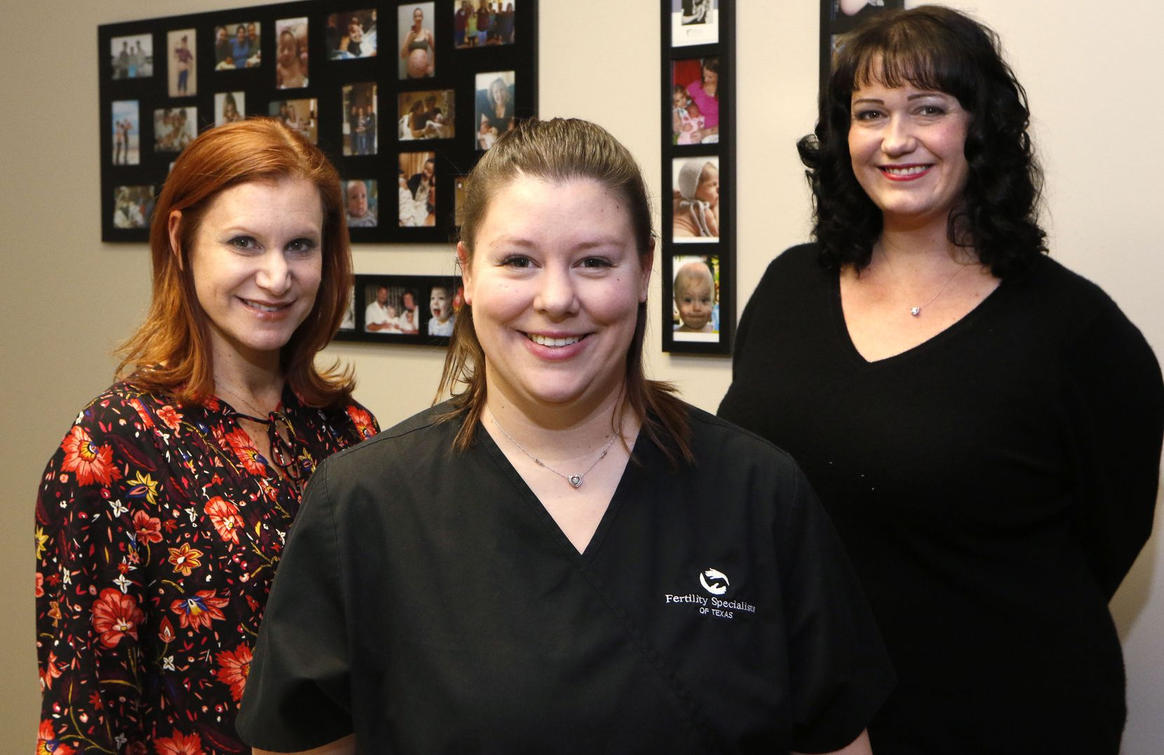 Ashley Moore (center), of Rockwall, (center), a surrogate who is currently pregnant for a couple; Jill Errera (left), of Dallas, who has been a surrogate four times; and Stephanie Scott, co-owner of Simple Surrogacy, who has also has been a surrogate.