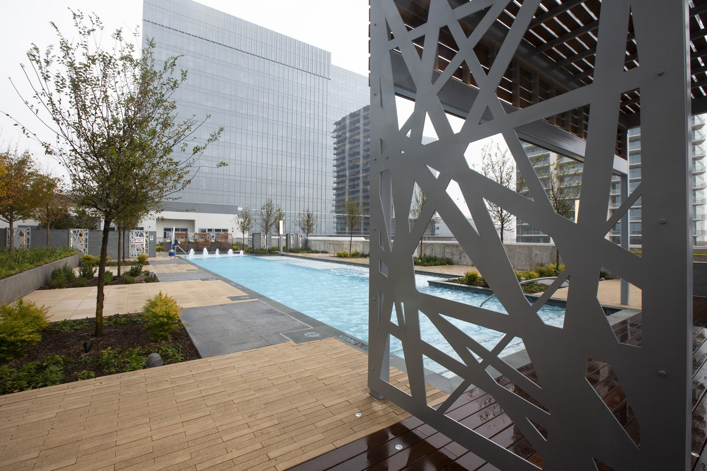 The eighth-floor pool deck the new LVL29 apartment high-rise in Plano on Tuesday, Nov. 5, 2019. The 29-story building the first high-rise residential building to open in the Legacy West area, and its first residents are expected to move in Dec. 1. (Lynda M. Gonzalez/The Dallas Morning News)