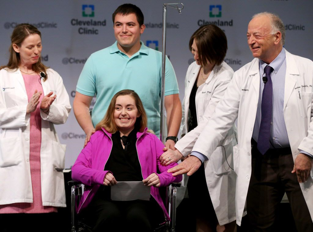 Patient Lindsey, 26, and her husband joined Cleveland Clinic medical staffers Monday to discuss her uterus transplant. On Wednesday, the Cleveland Clinic announced that the transplant had failed. (Marvin Fong/The Plain Dealer)