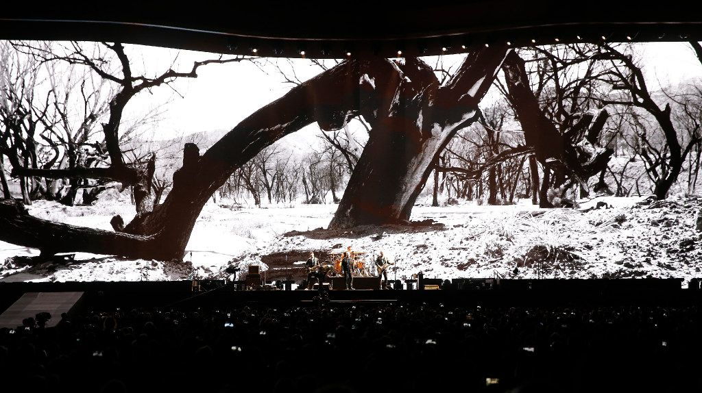 Members of U2 perform on stage at AT&T Stadium in Arlington, Texas, Friday, May 26, 2017. (Jae S. Lee/The Dallas Morning News)