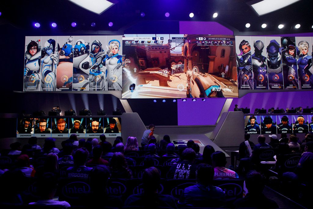 """Dylan Bignet - """"aKm""""  during the Overwatch League match between the Dallas Fuel and LA Gladiators on Friday, August 9, 2019 at Blizzard Arena in Burbank, CA. (Photo by Patrick T. Fallon/Special Contributor to The Dallas Morning News)"""