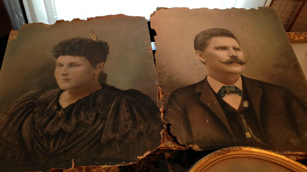 Anna and Heinrich Struck in hand-painted photos taken in 1896. Their adopted great-granddaughter Athena Villareal is now their caretake