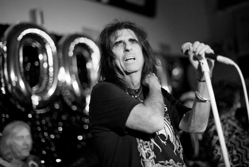 Alice Cooper and band at Good Records in October 2015