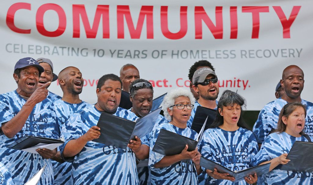 The Dallas Street Choir performed during the ten-year anniversary event at the Bridge Homeless Recovery Center in downtown Dallas on Monday