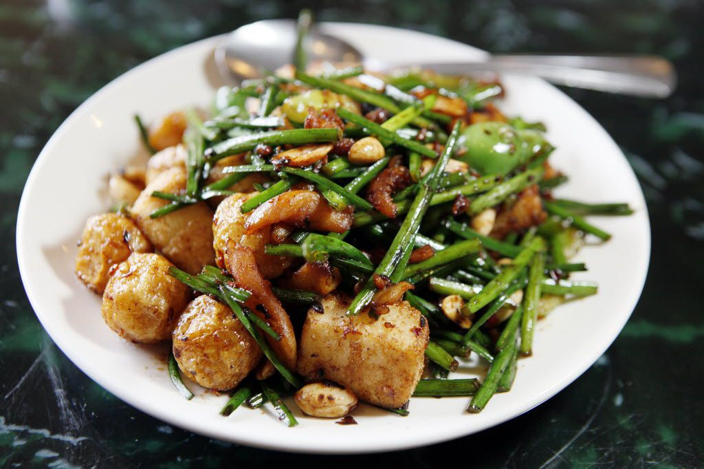 King's Special Stir-Fry: fish balls and fried tofu with tiny dried shrimp, garlic chives and peanuts.