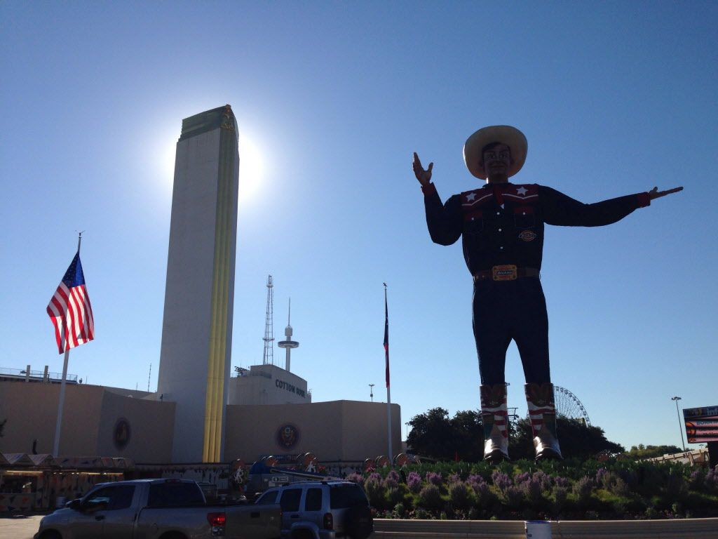 Sept. 25, 2014: Big Tex on a sunny day, just two days away from the opening of the State Fair.
