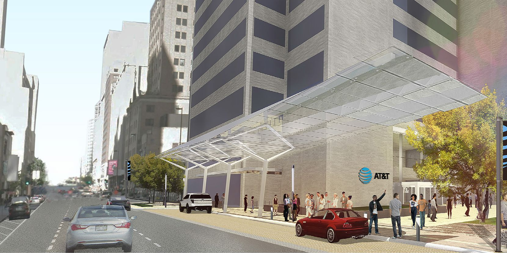 A new drop-off lane and canopy is planned along Commerce Street.