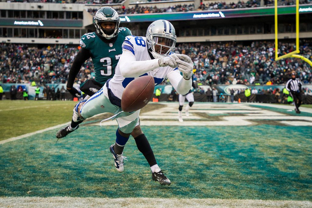 Dallas Cowboys wide receiver Dez Bryant (88) can't make a catch in the end zone as Philadelphia Eagles cornerback Rasul Douglas (32) defends during the second half of an NFL football game on Sunday, Dec. 31, 2017, in Philadelphia. (Smiley N. Pool/The Dallas Morning News)