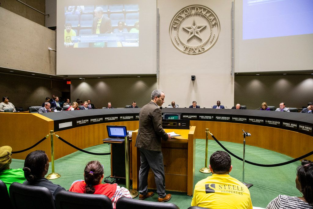 David Asarch walks away after addressing members of the City Council before debating the future of the Ridgecrest Terrace Apartments at Dallas City Hall on Oct. 24, 2018.