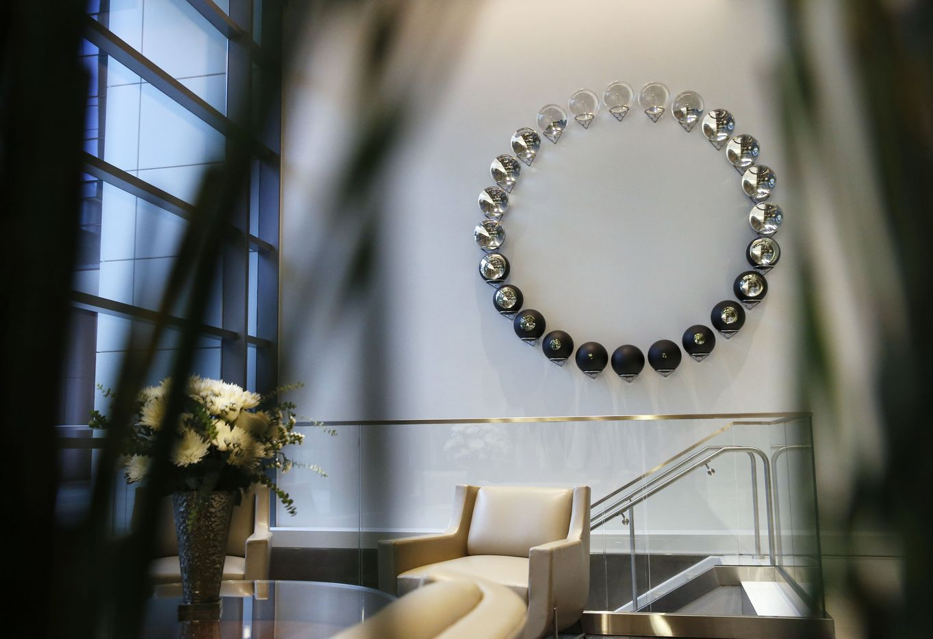 Breathing Moon by Olafur Eliasson is on display at the new Park District high-rise complex in Dallas.