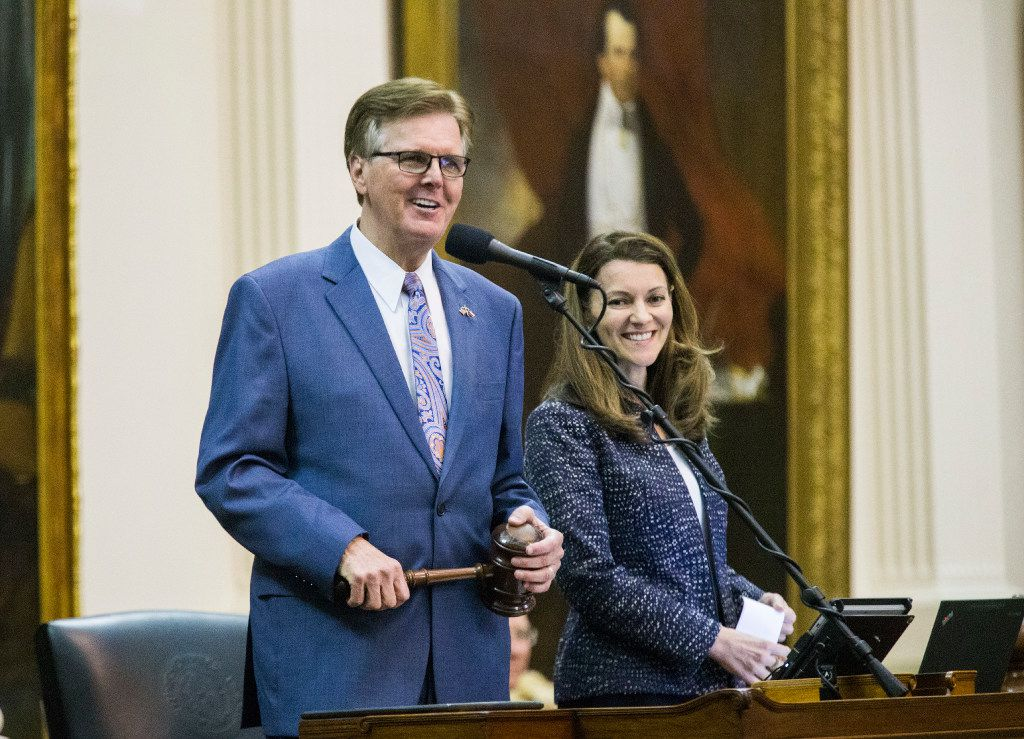 Lt. Gov. Dan Patrick smiles as Sen. John Whitmire, not pictured, makes a motion to adjourn around 1:30 a.m. during a midnight session on the third day of a special legislative session on Thursday, July 20, 2017, at the Texas state capitol in Austin.