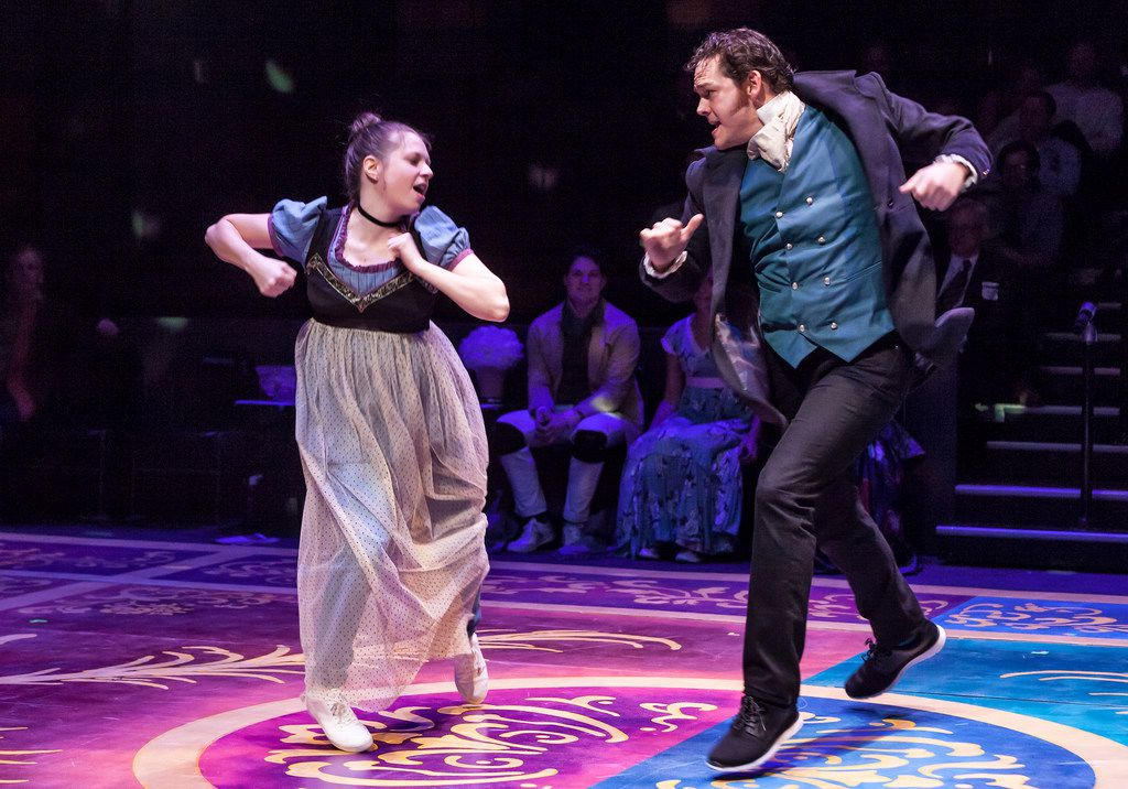 Jenny Ledel as Lizzy (left) and John-Michael Marrs as Mr. Darcy dance in Kate Hamill's adaptation of 'Pride and Prejudice,' presented by WaterTower Theatre in Addison Oct. 12, 2017.