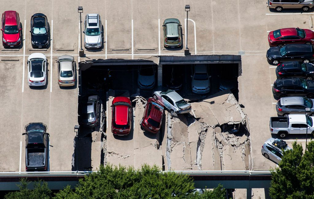 Two sections of an Irving, Texas, parking garage collapsed Tuesday. The first section cratered about 11:30 a.m.; the second section caved in about 4:30 p.m., sending more vehicles and rubble onto others below. Authorities say there were no injuries.