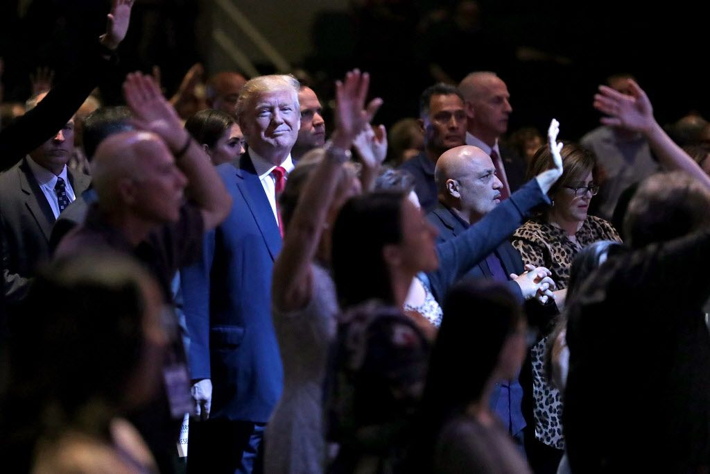 Republican presidential nominee Donald Trump attends a worship service at the International Church of Las Vegas October 30, 2016 in Las Vegas, Nevada. With nine days to go before Election Day, Trump is hoping to inspire the GOP base, including evangelical Christians, to support him.
